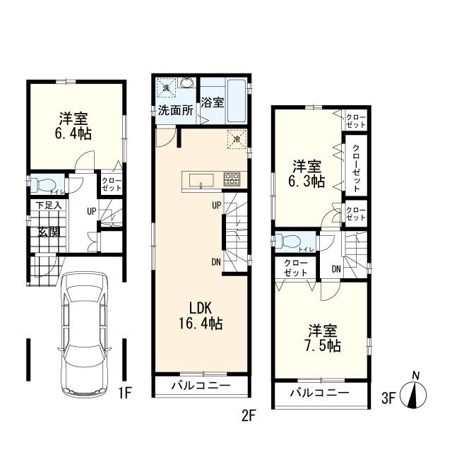 B棟:3LDK+車庫