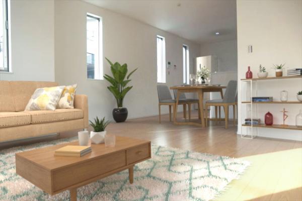 大きなソファを置いてゆったりとご生活頂けるリビング。(配置してある家具はCGによるイメージです)