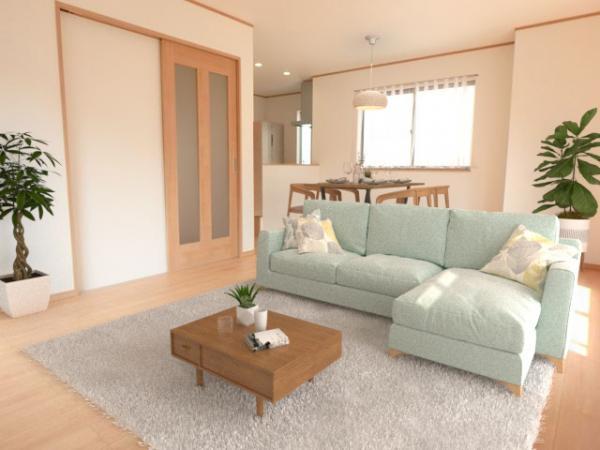 リビング(配置してある家具はCGによるイメージです。)広々リビング!南から陽がしっかりと差し込みます!