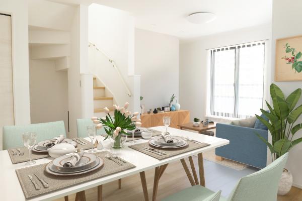 B号棟リビング(配置してある家具はCGによるイメージです)家族はもちろん友人たちもリラックス。仲間を呼び寄せる風通しの良い家。光と風が通るお部屋で充実した毎日を。