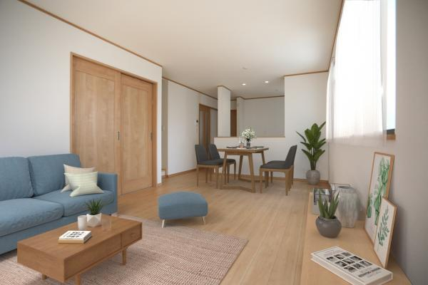 1号棟リビング(配置してある家具はCGによるイメージです。)