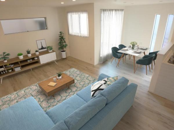 リビングは明るさの取れる設計に。(配置してある家具はCGによるイメージです)
