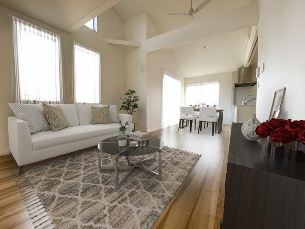 2号棟リビング(配置してある家具はCGによるイメージです。)家族が集まるリビングは明るさが取れる設計に。ライフスタイルの変化にも対応しやすい間取り設計にしました。