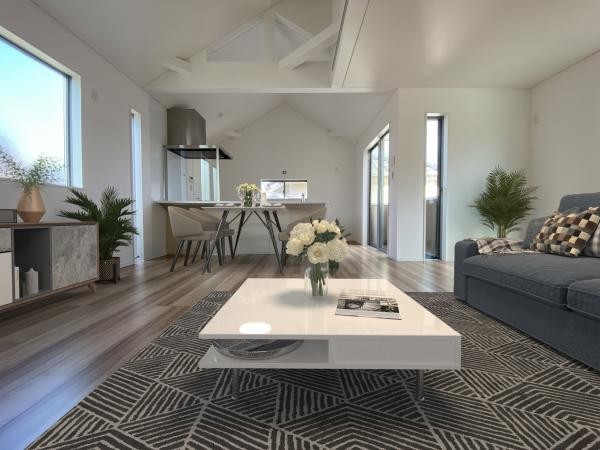 3号棟リビング(配置してある家具はCGによるイメージです。)