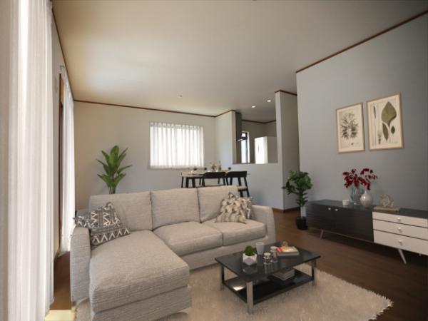 1号棟リビング(配置してある家具はCGによるイメージです)