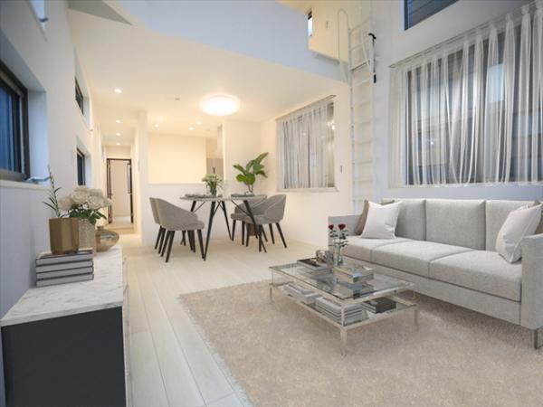 リビング(配置してある家具はCGによるイメージです)中山駅徒歩8分将来も安心の2階建てでございます。(5月28撮影)